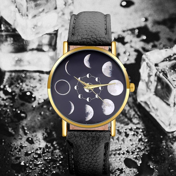 Other - Vegan leather MOON dial quartz analog watch